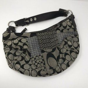 Authentic Coach Soho Jacquard Canvas Leather Hobo